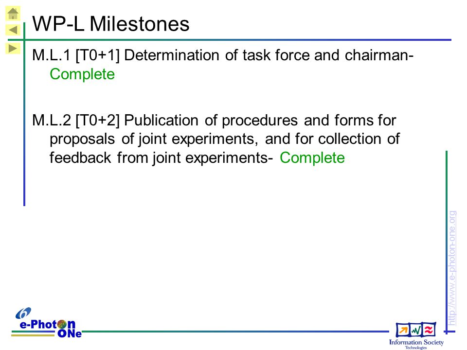 WP-L Milestones M.L.1 [T0+1] Determination of task force and chairman- Complete.